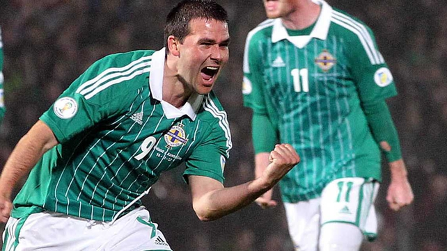 David Healy celebrates ended a 24 game goalless streak with Northern Ireland