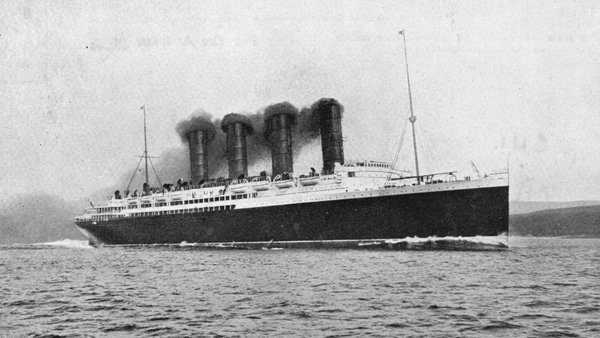Lusitania sank in 1915 with the loss of 1,201 lives