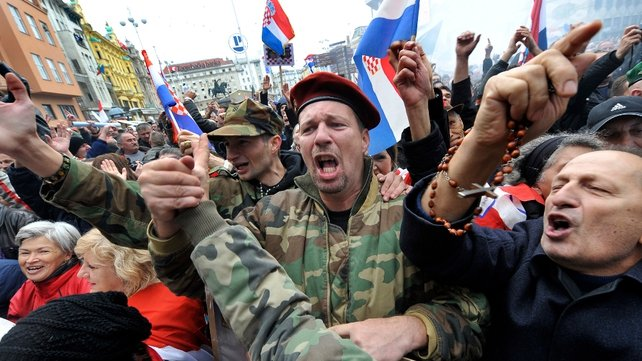 People celebrate in Zagreb after the acquittals of former Croatian generals Ante Gotovina and Mladen Markac
