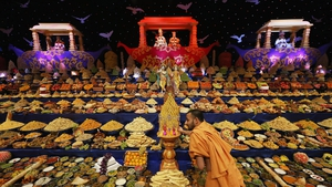 A religious motif is placed on a stand as Sadhus and Hindus celebrate Diwali at the BAPS Shri Swaminarayan Mandir in London