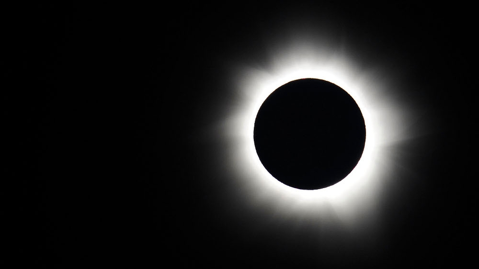 Totality is seen during the solar eclipse at Palm Cove in Australia
