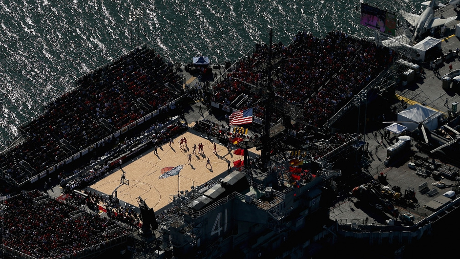 An aerial view of the Battle On The Midway college basketball game played between the Syracuse Orange and the San Diego State Aztecs on board the USS Midway in San Diego, California