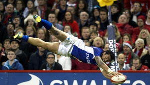 Samoan delight - George Pisi dives over for a try
