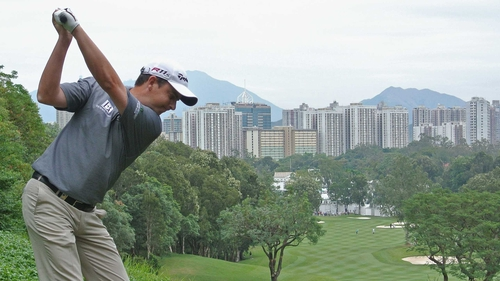 Peter Lawrie hit a third round 67 to sit three off the lead in Hong Kong