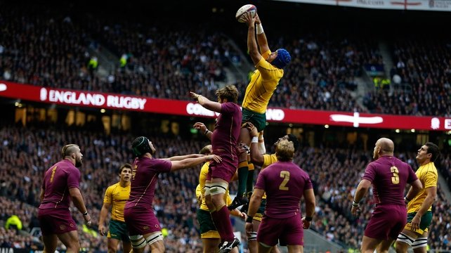 Nathan Sharpe climbs highest to claim the line-out ball against England