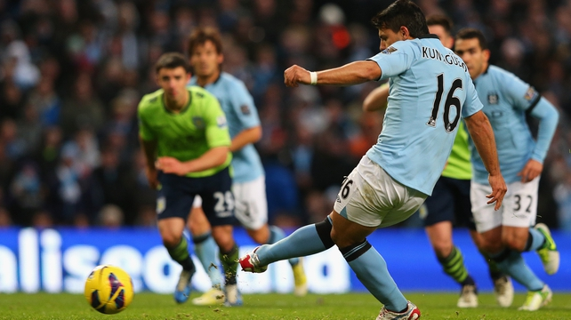 Sergio Aguero scores from the spot as the reigning champions proved too good for the Villians