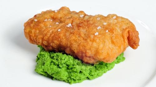 Catherine Fulvio's Homemade Cod Fingers with Mushy Peas and Sweet Potato