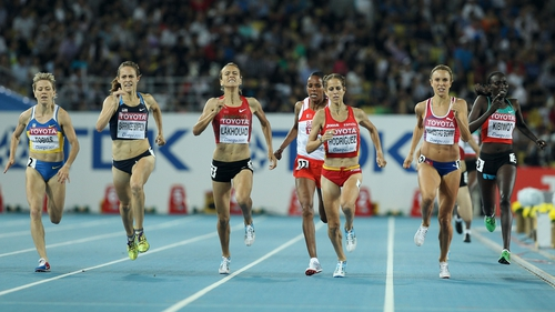 Nataliya Tobias of Ukraine (far left) was handed a two-year ban in 2012 after testing positive for testosterone at the 2011 World Championships in Daegu