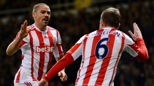 Ireland team-mates Jonathan Walters and Glenn Whelan combined for a training-ground worked goal for Stoke at West Ham