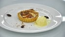 Peaches and Frangipane tart with rosemary and honey ice-cream