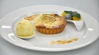 Poached pear and frangipane tart with coconut and mango ice-cream  - From the ice cream and sorbet flavour challenge on MasterChef Ireland 2012