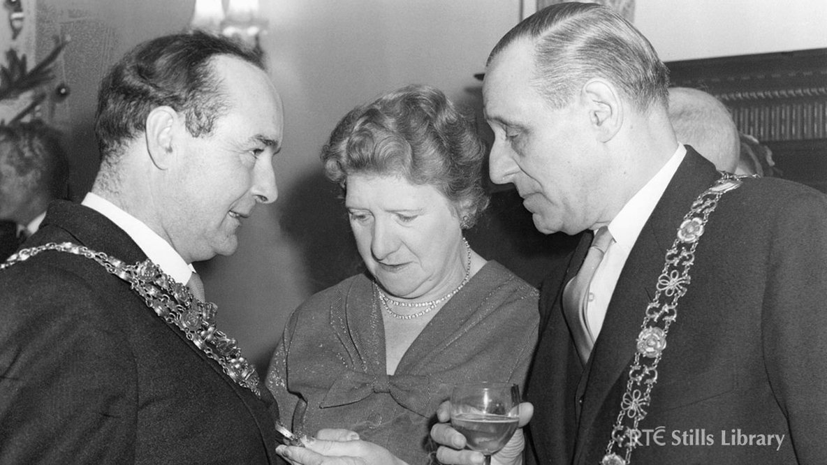Lord Mayor of Dublin Robert Briscoe (right) is pictured with two unidentified people at the opening night of Telefís Éireann on New Year's Eve 1961. © RTÉ Stills Library 2492/030