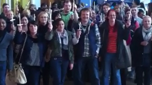 Students and lecturers gather ahead of a protest at Limerick IT