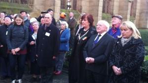 President Michael D Higgins at the Irish Famine Memorial in Liverpool