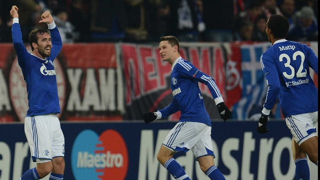 Schalke's Austrian defender Christian Fuchs celebrates