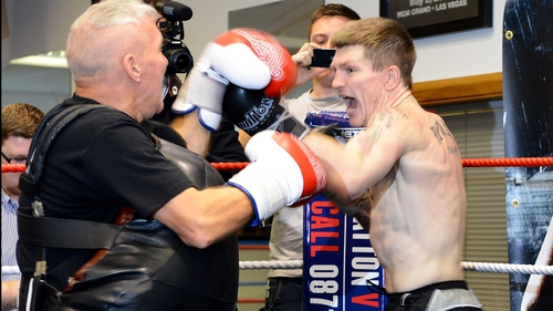 Ricky Hatton with trainer Bob Shannon last week