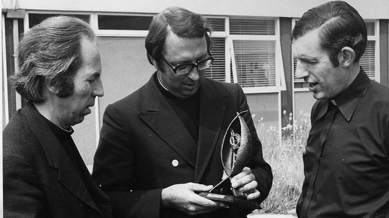 Desmond Forristal, Dermod McCarthy and Joe Dunn with UNDA award for the film 'Heirs of the Father' in 1979.