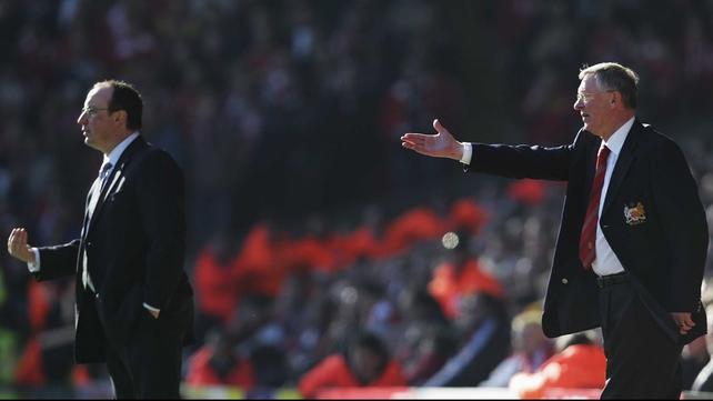 Rafael Benitez and Alex Ferguson during a league match in 2007
