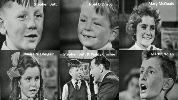 School Around the Corner, 1962 Top: Stephen Butt, Noel O'Driscoll, Mary McQuaid Bottom: Máire Ní Dhúgáin, Stephen Butt and Paddy Crosbie, Martin Nolan