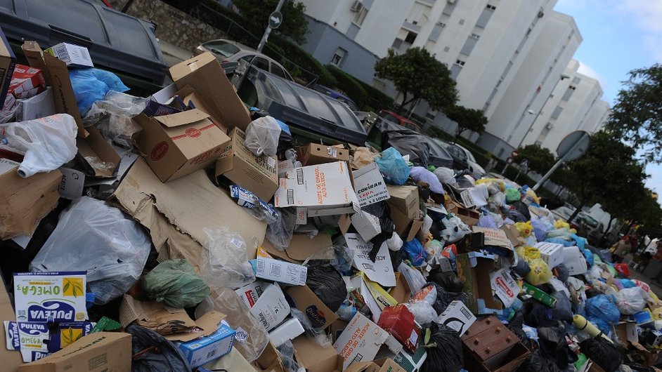 Uncollected garbage during the 21st day of the garbage collectors' strike on in Jerez de la Frontera, Spain