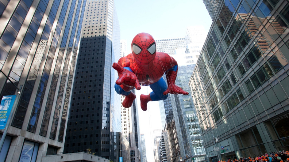The Spiderman balloon makes its way down Sixth Avenue during the 86th Annual Macy's Thanksgiving Day Parade in New York