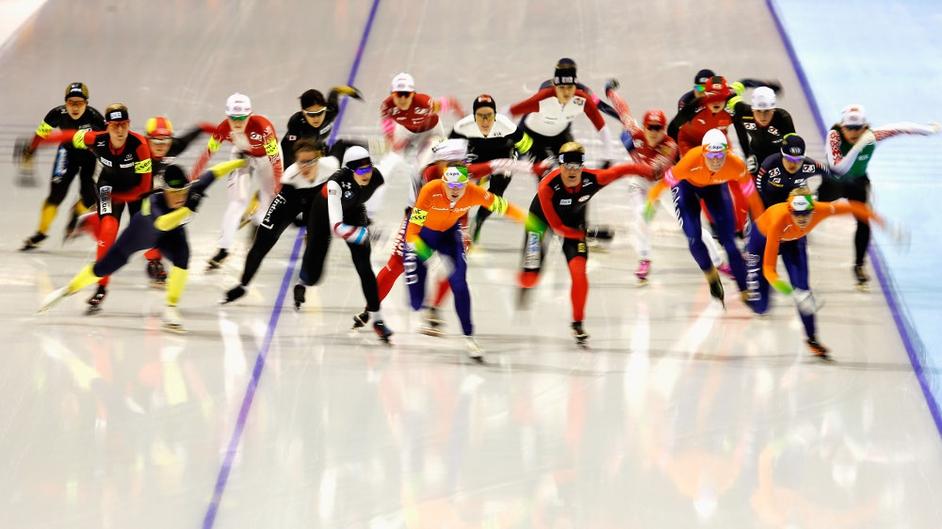 Female competitors at the ISU World Cup Speed Skating in Heerenveen, Netherlands