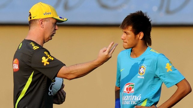Mano Menezes pictured with Brazilian superstar Neymar during a training session in Brazil earlier in the year