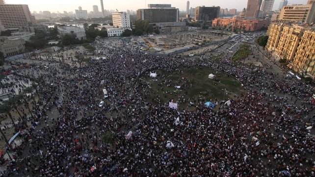 "Thousands demanded that Mr Mursi should quit and accused him of launching a ""coup"""