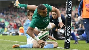 Simon Zebo dotted down in the corner for Ireland's fourth of the half