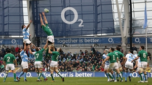 Man-of-the-match Donnacha Ryan rises high to deny Manuel Carizza the ball