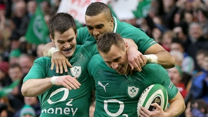 Tommy Bowe takes the plaudits from Simon Zebo and Jonathan Sexton