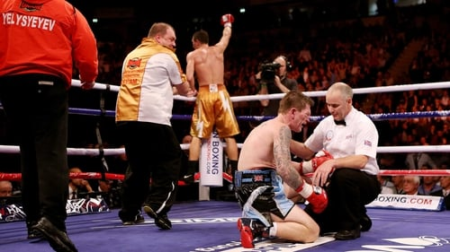 The agony and the ecstasy - Vyacheslav Senchenko jumps for joy as a Ricky Haton remains stooped on the canvas