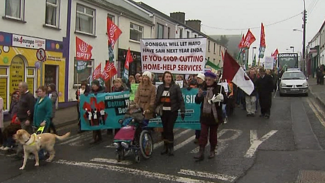 Protesters marched on the constituency office of Enda Kenny