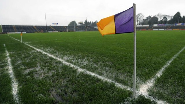The waterlogged pitch at Wexford Park