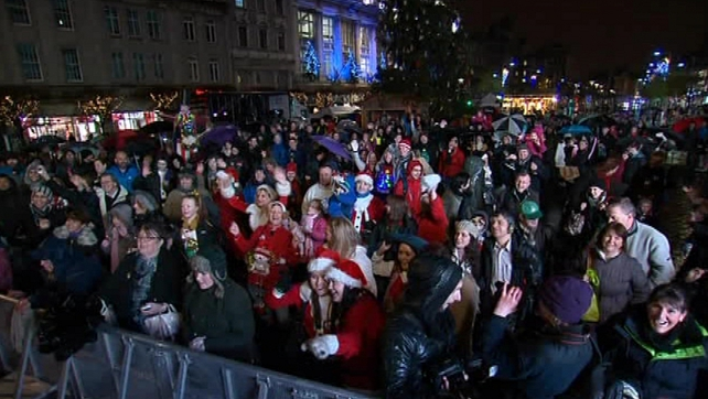 A large crowd came to see the turning on the lights on the Christmas tree on O'Connell Street