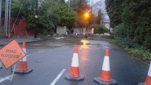 Delgany road in Wicklow is closed