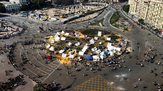 Egyptian opposition gather in sit-in tents at the landmark Tahrir Square in Cairo