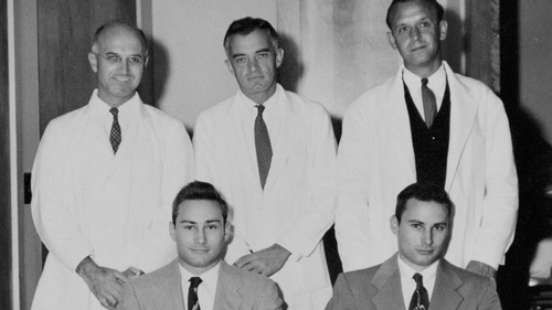 Dr Joseph Murray (back left) carried out the operation on twins Richard and Ron Herrick in 1954