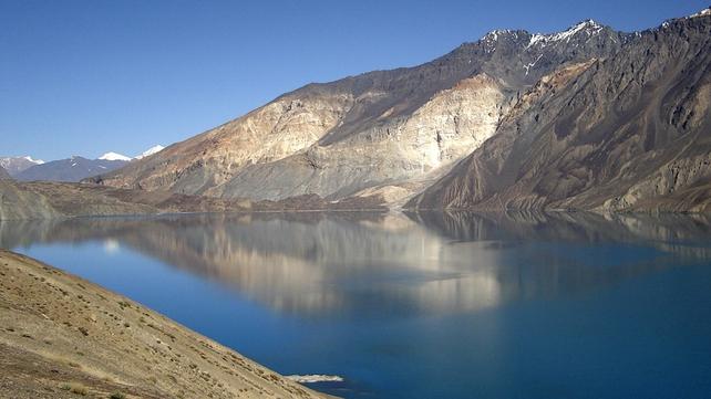 Lake Sarez in the mountains of Pamir, Tajikistan