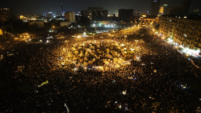 Tens of thousands people take part in a mass rally against a decree by President Mohammed Mursi