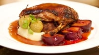 Hotel Meyrick's Roast Silver Hill Duck with Spiced Plums - Served with potato and herb stuffing and a port and cherry sauce.