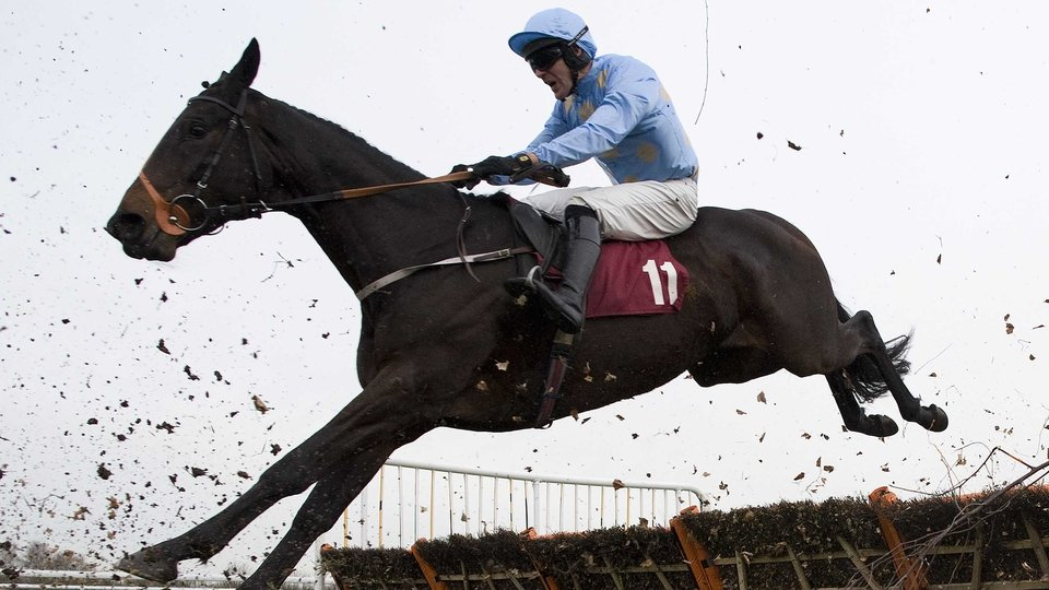 Danny Cook riding Yesyoucan clears the last to win the Try Racing Fixed Odds On Betfair Handicap Hurdle Race at Haydock