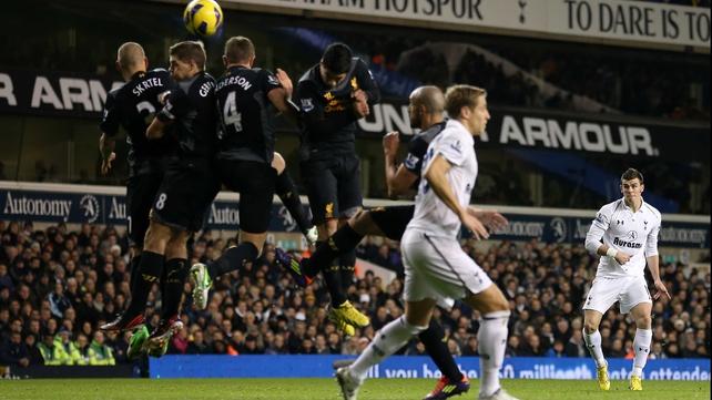 Gareth Bale scores from a free-kick