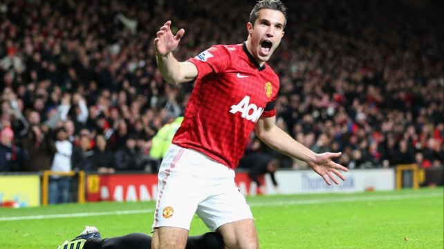 Robin van Persie celebrates what proved to be the winning goal