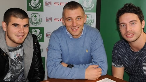 Hoops boss Trevor Croly with new signing Barry Murphy (right) and Conor Powell who has re-signed for Rovers for 2013