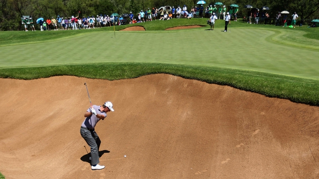 Nicolas Colsaerts plays out of the greenside bunker on the eighth earlier today