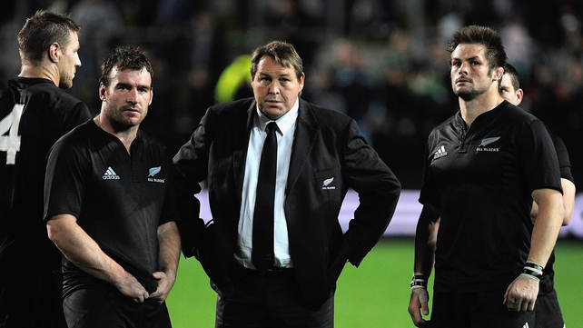 All Blacks coach Steve Hansen (centre) is embarrassed by Andrew Hore's (left) tackle on Bradley Davies