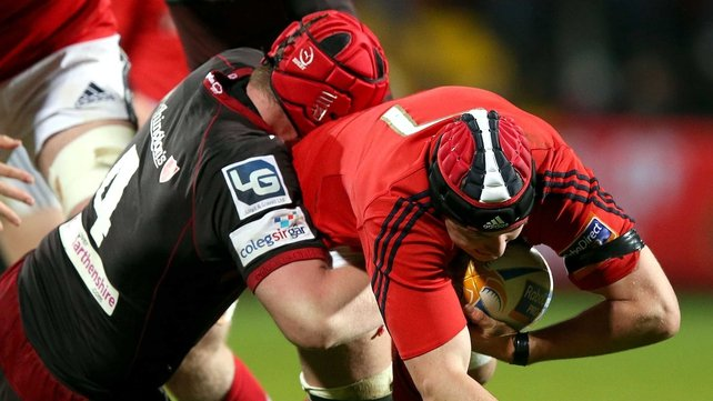Jake Ball tackles Niall Ronan during the clash which Munster lost