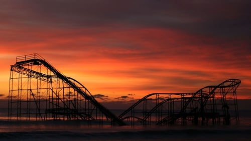 A roller coaster sits in the Atlantic Ocean after the Casino Pier collapsed when Superstorm Sandy hit in Seaside Heights, New Jersey