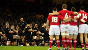 The New Zealand All Blacks perform the Haka before the international rugby match between Wales and New Zealand at the Millennium Stadium in Cardiff